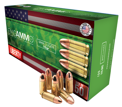 "EMG Ammo 9mm ""Liberty"" case of 1,000 rounds"