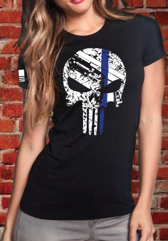 "Women's ""Blue Line Punisher"" T-Shirt"